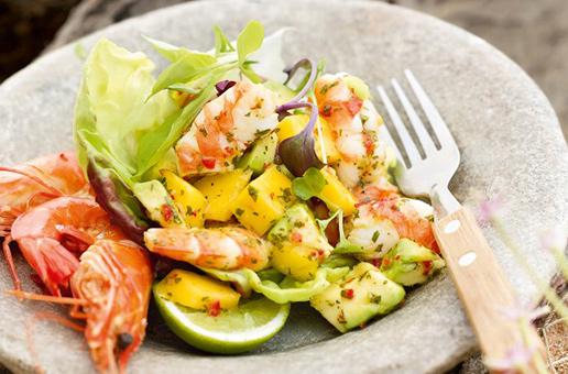 avocado salad thai prawn mango